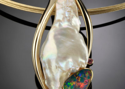 Opal, Pearl and Tourmaline Pendant