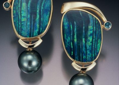 One of a kind Australian Opal, Tahitian Pearl & indicolite tourmaline ,gold earrings