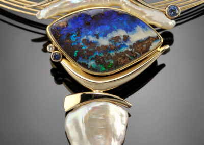 One of a kind Opal with Fresh Water Pearls, Diamonds, Sapphires set in gold