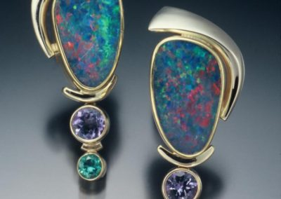 One of a kind gold earrings with opal, tanzanite & tourmaline