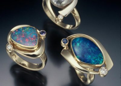 One of a kind gold rings with opals, tourmalines, diamonds & keshi pearl