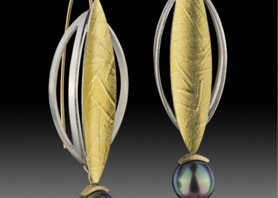 Tahitian pearl earrings in gold and sterling
