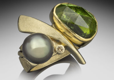 One of a kind gold ring with a rose cut green tourmaline, a Tahitian pearl & cognac diamond